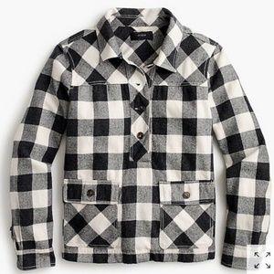 J. Crew Shirt Jacket Buffalo Check Popover